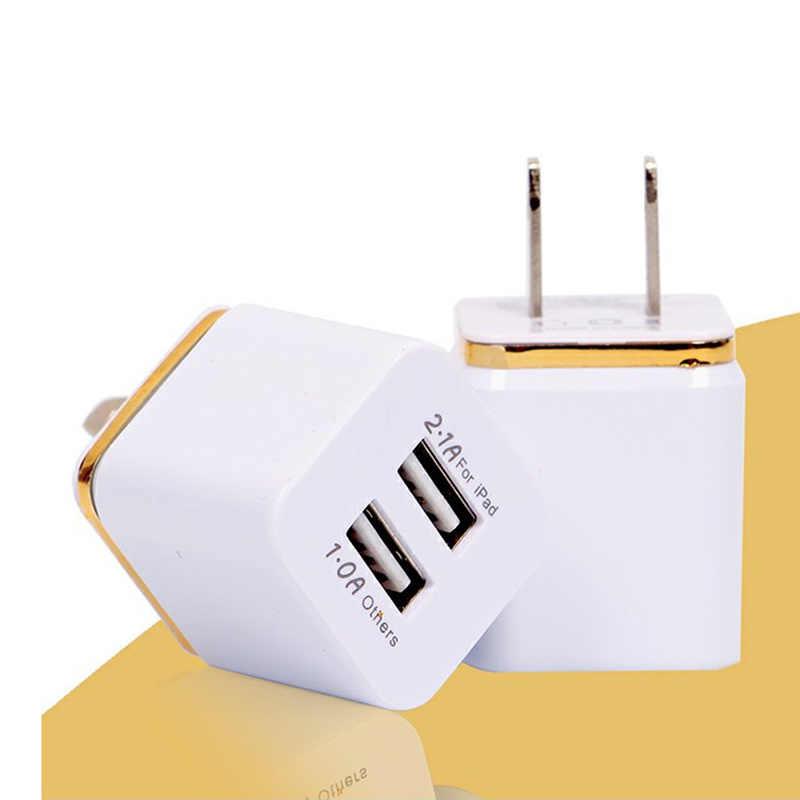 Baru Universal 5V 2.1A Ponsel Charger Uni Eropa PLUG DUAL USB Pengisian Kepala Portable Perjalanan Dinding Charger Adapter