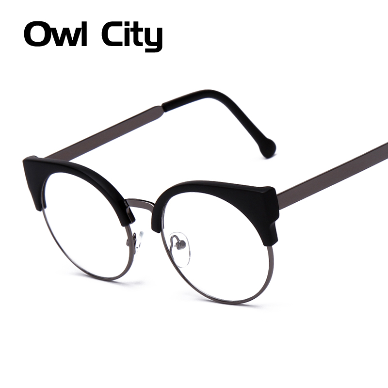 Kvinner Glasses Cat Eye Eyeglasses Vintage Halvramme Metal Eyewear Frames Prescription Optical Myopia Computer Clear Glasses
