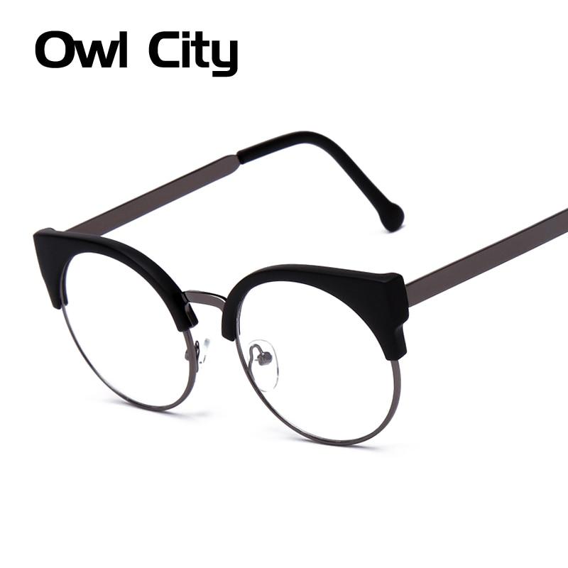 ③Women Glasses Cat Eye Eyeglasses Vintage Half Frame Metal Eyewear ...