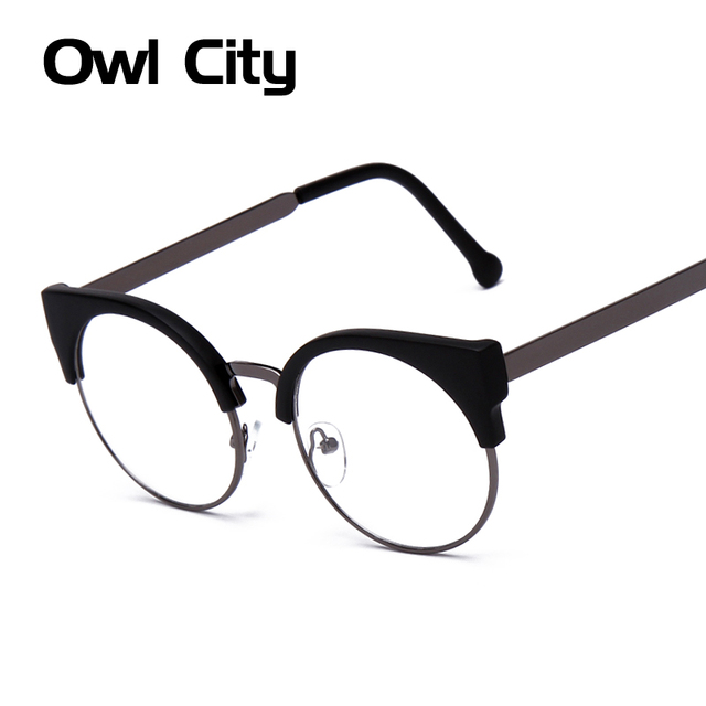 67a560cc443 Women Glasses Cat Eye Eyeglasses Vintage Half Frame Metal Eyewear Frames  Prescription Optical Myopia Computer Clear