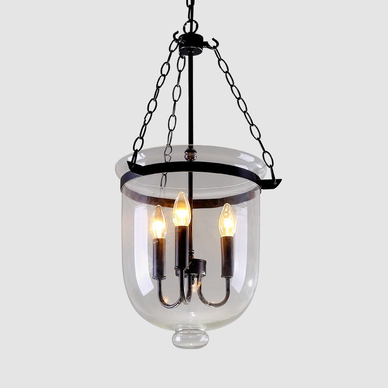 Image 2 - American Country Black/Rust Color Clear Glass Foyer Pendant Light Retro Dining Room Decoration Light D250MM/350MM Free Shipping-in Pendant Lights from Lights & Lighting