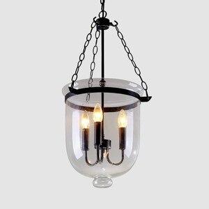 Image 2 - American Country lámpara colgante con forma de vestíbulo de cristal transparente, Color negro/óxido, Decoración Retro Para comedor, D250 MM/350MM