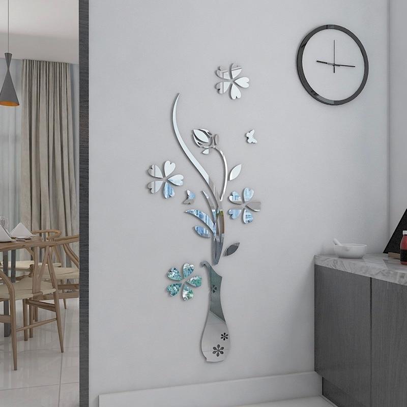Mirror Flower Vase 3d Crystal Acrylic Wall Stickers Entranceway Furniture Diy Art Wall Decor