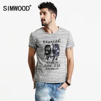 SIMWOOD 2017 New Summer Cartoon Letter T Shirts Men Shorts Sleeve Striped 100 Pure Cotton Slim
