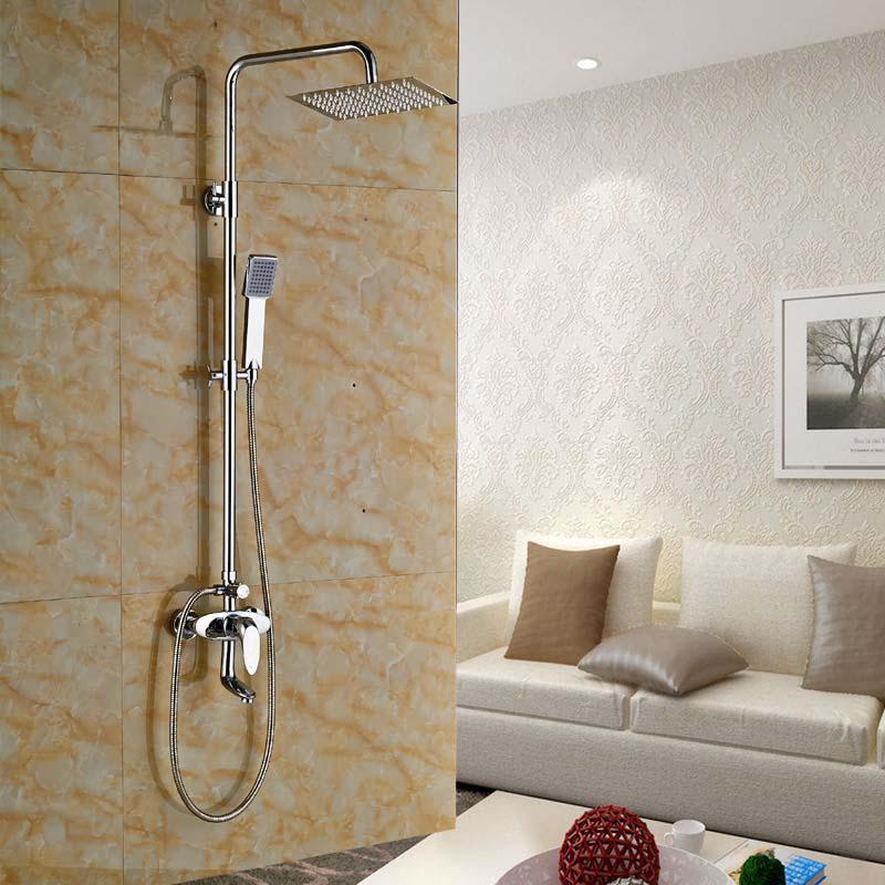Chrome Brass Square 8 Rain Shower Faucet Tub Spout Wall Mounted Mixer Tap poiqihy chrome rain