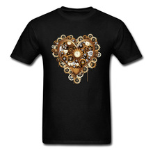 Tops Shirt Steampunk Heart Love Vintage Mother Day Short Sleeve Cotton Fabric O Neck Men T Shirts Summer Tee Shirts High Quality