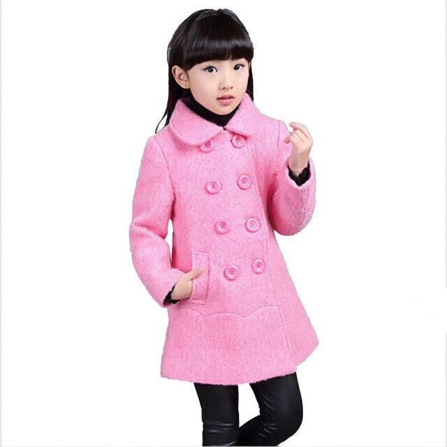 Шерстяное пальто детей куртки для девочек пальто мода осень двубортный большие дети наряды детская одежда размер 6 - 15