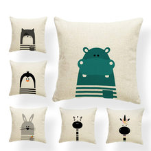 Cartoon Cushion Covers Animal Unicorn Penguin Seal Crocodile Hippo Monkey Pilow For Kids Pillowslip Covers Small Burlap Colorful(China)