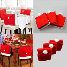 4Pcs Chair Covers Dinner Table Santa Hat Home Decorations