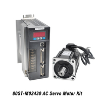 80ST M02430 Single Phase Servo Motor Kit 3000RPM 0.75KW 220V AC Servo Motor Kit CNC Matched Drive With 3M Encoder Cable