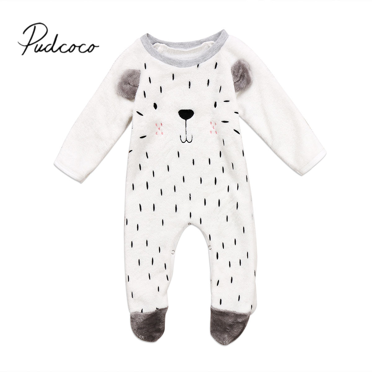 2017 Brand New Toddler Infant Kids Baby Boys Girls Fluffy Animal Long Sleeve Romper Jumpsuit Clothes Fall Winter Warm set puseky 2017 infant romper baby boys girls jumpsuit newborn bebe clothing hooded toddler baby clothes cute panda romper costumes