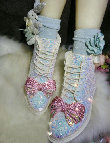Womens Girls Rhinestone Crystal Bow Knot Sequins Mid Calf Boots Lolita Cosplay With Socks Warm Snow Shoes Chic Cute Fashion ombre circle calf length socks