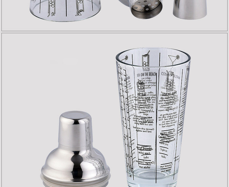 Shaker de Cocktail Transparent Acier Inoxydable 12