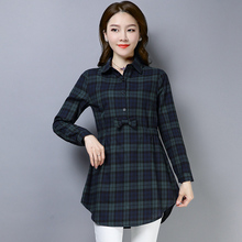 0a504d4cd69249 2019 Spring Vintage Full Sleeve Red Plaid Peter Pan Collar Women Blouses  Bow Fashion Shirt Womens