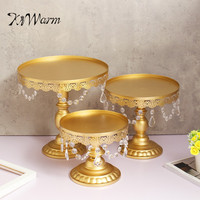 KiWarm 3Pcs Set Round Metal Crystals Cake Stand Dessert Candy Holder Candle Holder For Wedding Party