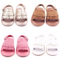 New Summer PU Leather Hard Rubber Sole Baby Moccasins Girls Solid Baby Shoes Infant Toddler First Walkers Anti-slip Shoes