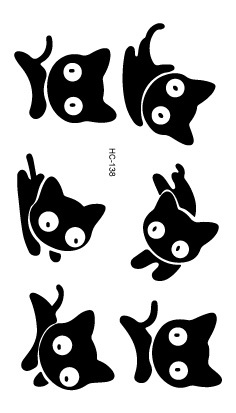 HC1138 Sexy Cute Black Little Cat Design Temporary Tattoo Sticker Men Body Art Fake Tattoo Waterproof Tattoo Sticker Women