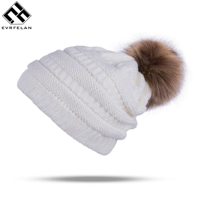 fc0231786 US $4.89 30% OFF|Winter Brand Female Ball Cap Pom Poms Winter Hat For Women  Girl 'S Hat Knitted Beanies Cap Hat Thick Women'S Skullies Beanies -in ...