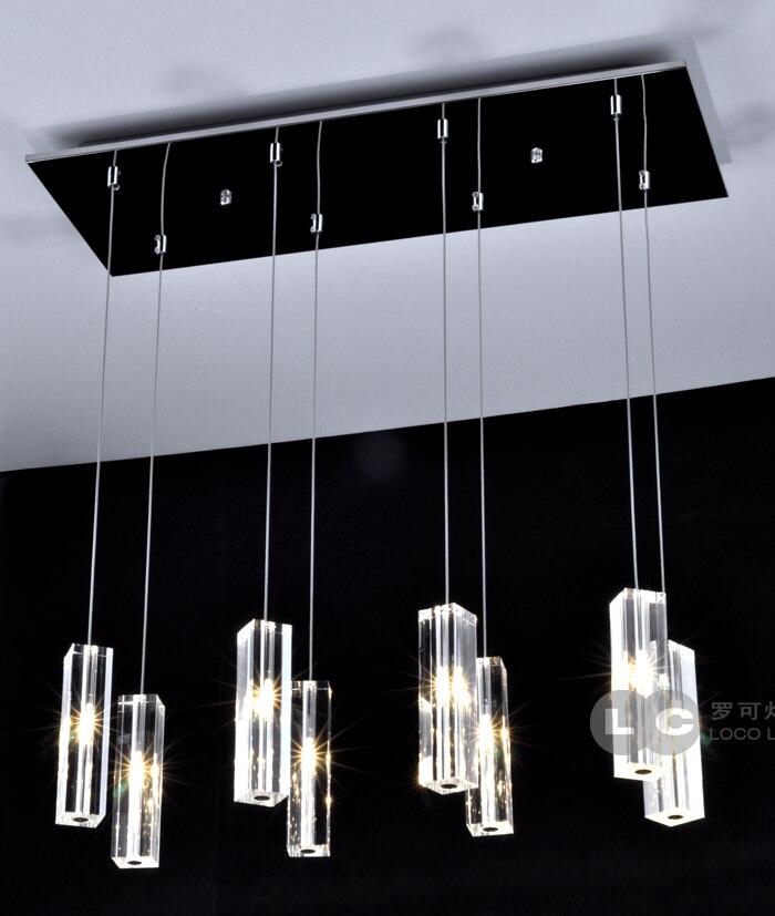 Modern minimalist rectang crystal pendant light for bar dining room  5 head /8 crystal hanging lighting lamp Pendant Lights     - title=