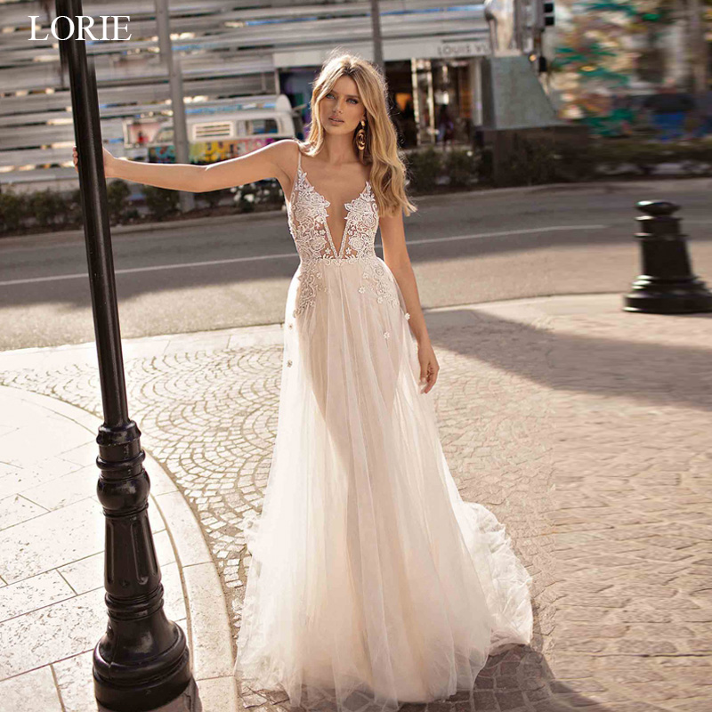 LORIE Boho Wedding Dresses Appliqued with Lace V Neck Beach Wedding Gown Spaghetti Strap Backless Free Shipping Bridal Gown 2019 gown