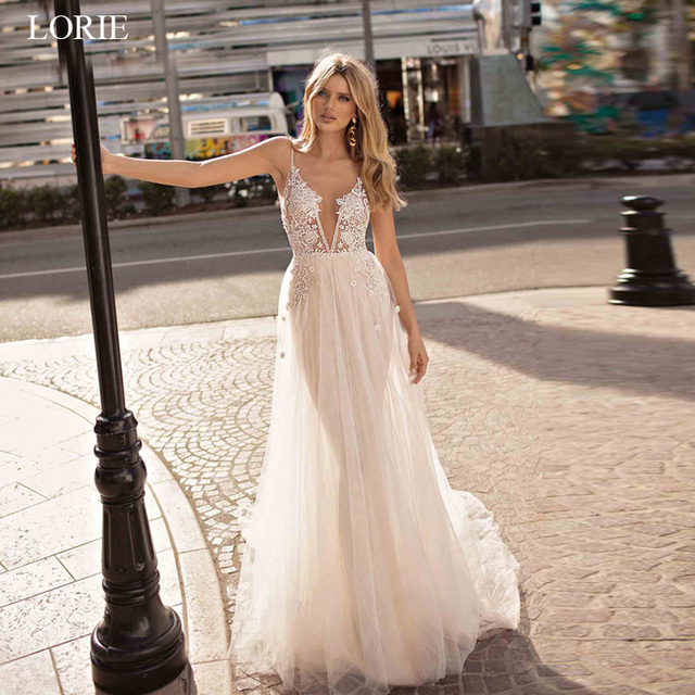 4f489c72bb LORIE Boho Wedding Dresses Appliqued with Lace V Neck Beach Wedding Gown  Spaghetti Strap Backless Free Shipping Bridal Gown 2019
