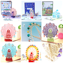 3D Pop up Card Wedding Invitations Greeting Gift Cards Postcards Birthday Handmade Paper Laser Cut Vintage Kraft Souvenirs