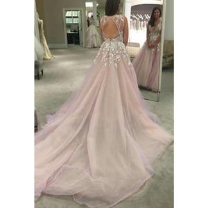 Image 3 - Cuello en V tul vestidos De boda apliques abierto sin mangas una línea piso longitud Catedral tren Vestido De novia