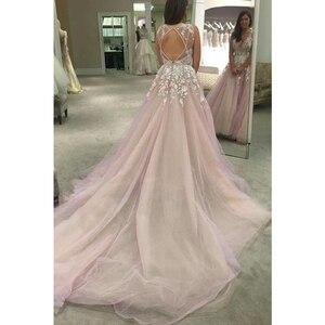 Image 3 - V Neck Tulle Wedding Dresses Applique Open Back Sleeveless A Line Floor Length Cathedral Train Bridal Dress Vestido De Noiva