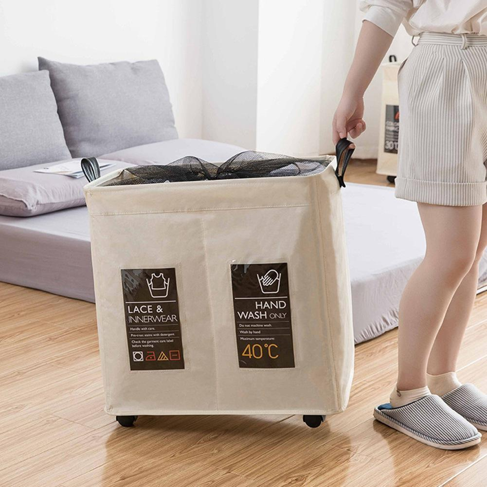 Rolling Wheel Corner Durable Laundry Hamper Clothes Storage Basket Bin Organizer Washing Bag in Laundry Bags Baskets from Home Garden