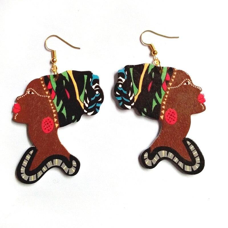 Personality Designs Ethnic Boho Wooden Earrings Fashion Jewelry Women Head Dangles Hanging Earrings Female Accessories Bijoux