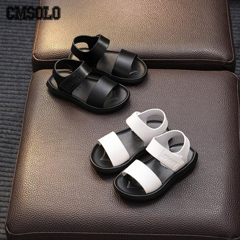 CMSOLO Toddler Girls Sandals 2018 Summer Boys Sandal Kids Beach Shoes Baby White Black Footwear Rubber Flat Quality Outdoor New