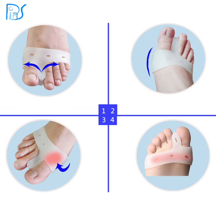 Silicone hálux valgo pés de cuidado gel dedos do pé toe separador polegar  valgo protetor joanete ajustador guarda 55239b18090a9