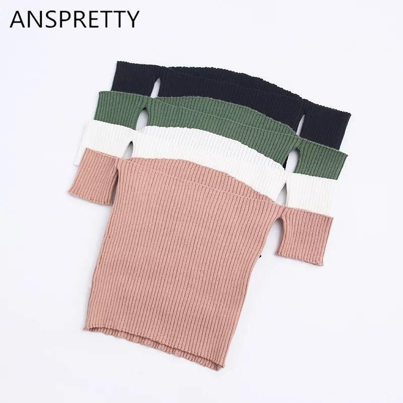 Anspretty Apparel 2017 Summer Knitted Sexy Crop Top Women Off Shoulder Slash Neck Short T Shirt High Stretchy Fashion Tee