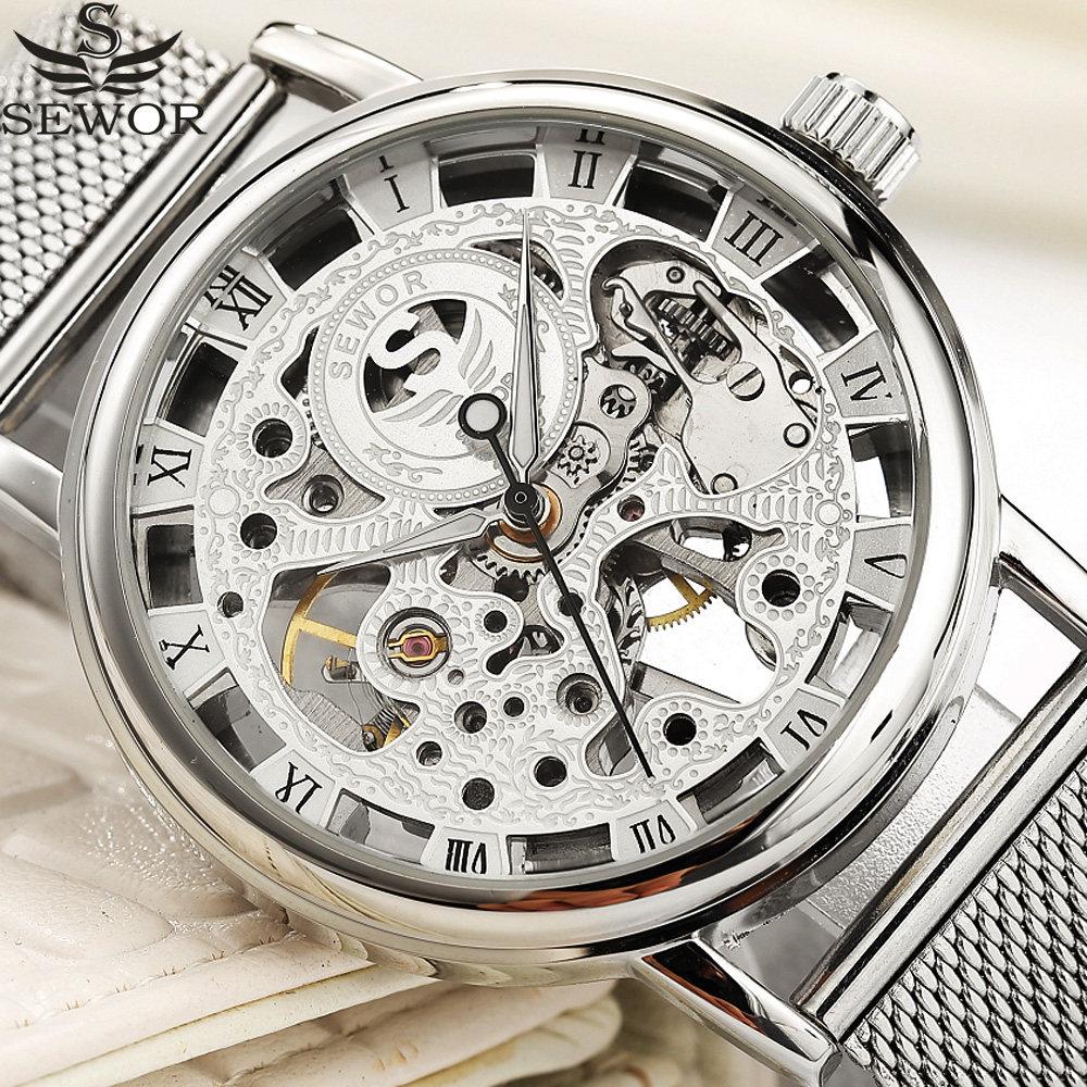1a5d2998836 SEWOR Moda Malha de Aço Inoxidável Strap Homens Esqueleto de Prata do Relógio  Mecânico Relógios Top