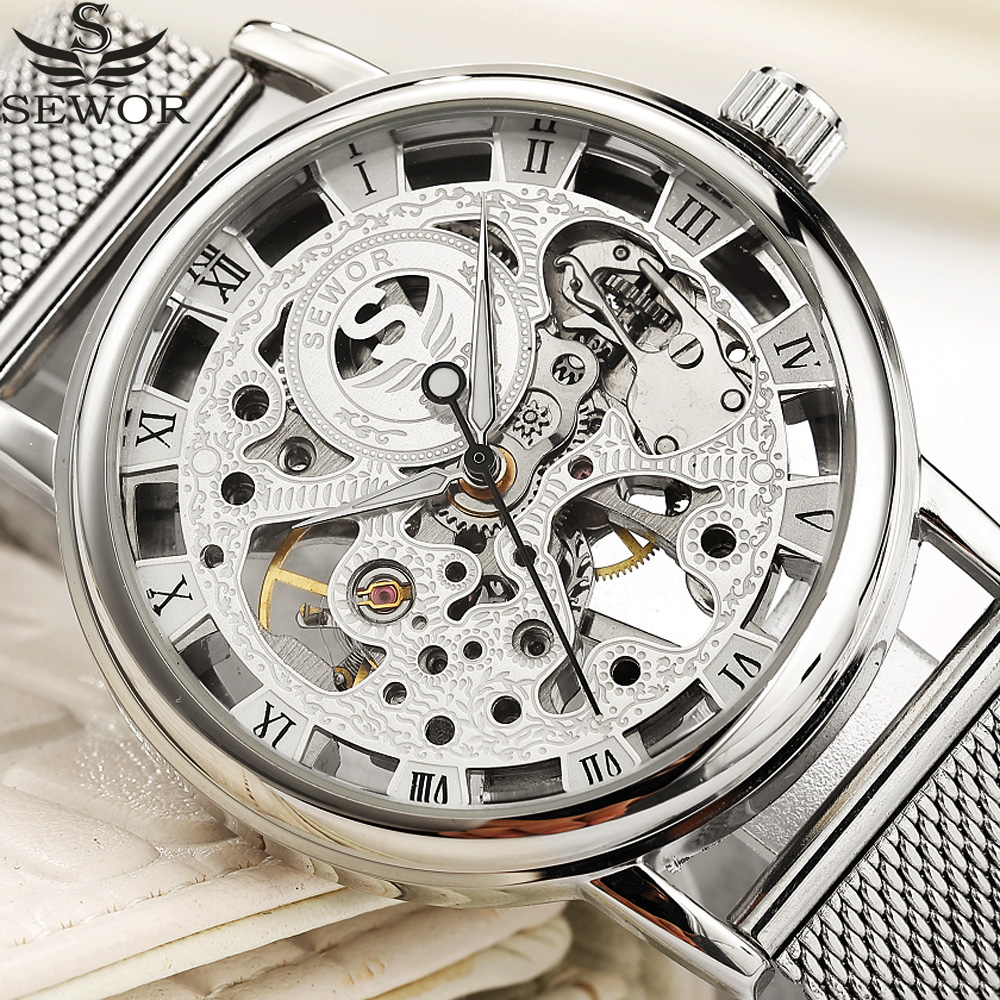 цена SEWOR Mechanical Watch Silver Fashion Stainless Steel Mesh Strap Men Skeleton Watches Top Brand Luxury Male Wristwatch