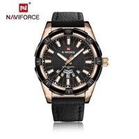 NAVIFORCE Top Brand Quartz Watches Luxury All Match Clothes PU Leather Man Quartz Hour Date Clock