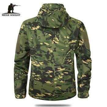 MEGE Men's Military Camouflage Fleece Tactical Jacket Men Waterproof  Softshell Windbreaker Winter Army Hooded Coat Hunt Clothes 2