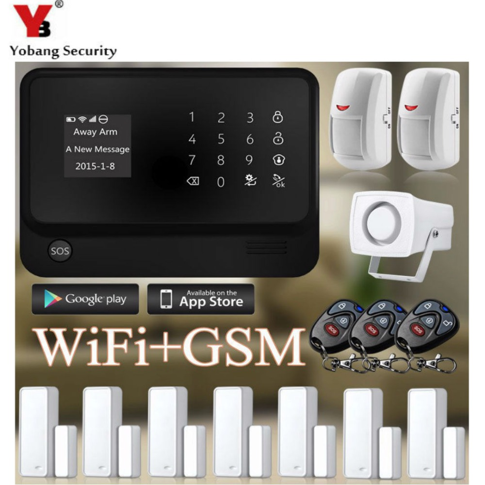 YobangSecurity Home Touch Screen GSM WiFi Alarm System G90B 433MHz Remote Control PIR Motion Detector Magnetic