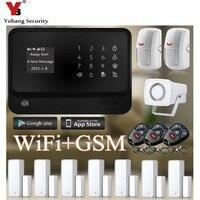 Yobangsecurity домашний с сенсорным экраном и поддержкой GSM сигнализация Wi Fi Системы G90B 433 МГц RF пульт Управление пассивный инфракрасный датчик дви