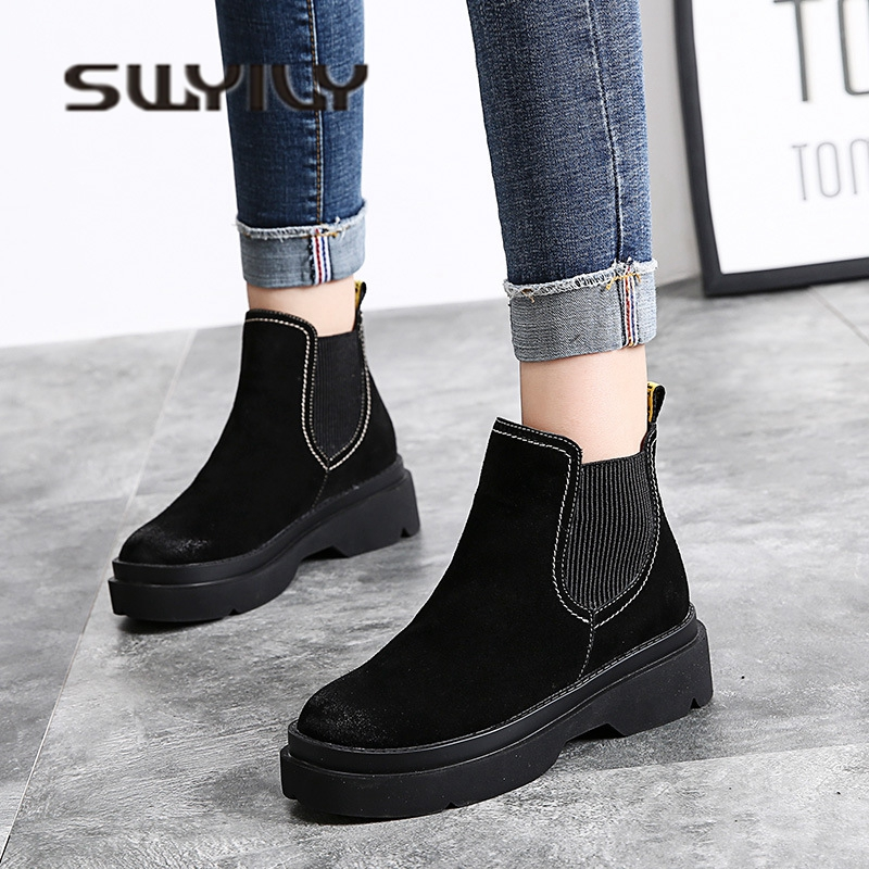 SWYIVY Womens Chelsea Boots Velvet Winter 2018 Suede Female Casual Shoes Ankle Snow Boots Fur Winter Shoes Slip On Boots Wedge slip on faux fur flat suede snow boots
