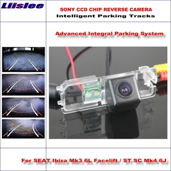Liislee Rear Rear Camera For SEAT Ibiza Mk3 6L Facelift Intelligent Parking Tracks Backup Reverse / Dynamic Guidance Tragectory