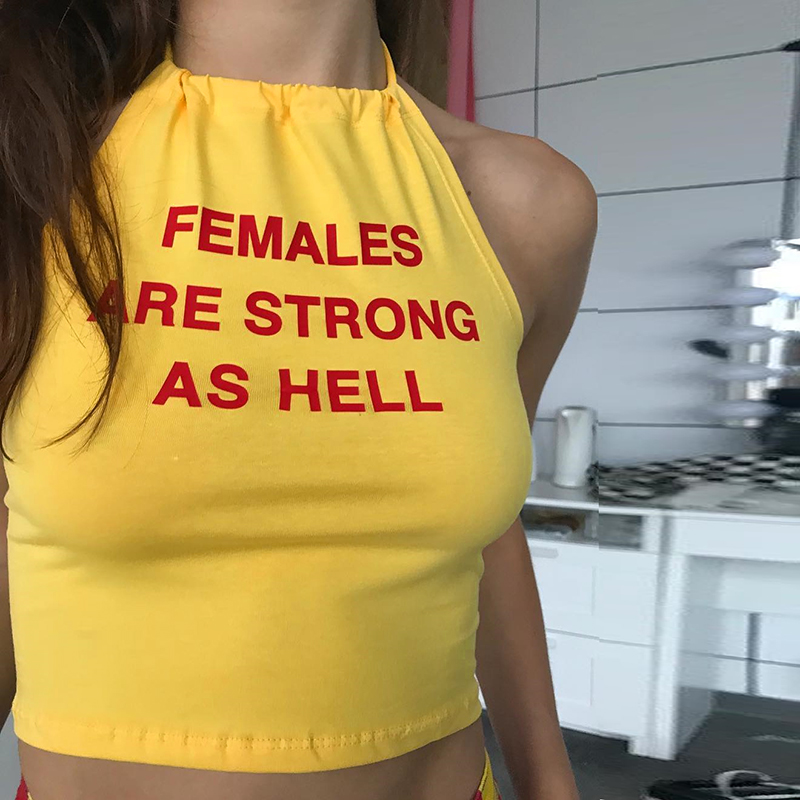 Rapcopter Halter Tank Top Women Sleeveless Backless Letter Printed Cotton Tee Shirt Cropped Fashion Boho Bodycon Yellow Tops