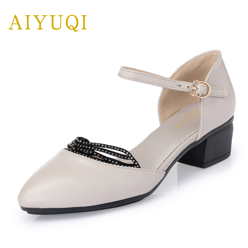 AIYUQI Fashion Sandals 2019 new genuine leather big size 4142 43 women shoes summer Hollow Diamond red women wedding shoes in Women 39 s Pumps from Shoes