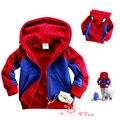 Infantiles desgaste superman modelado ropa niños manga larga con capucha chaqueta del otoño del resorte de los bebés de la historieta del hombre araña prendas de vestir exteriores