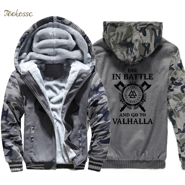 Odin Vikings Hoodie Coat Men Die In Battle And Go To Valhalla Hooded Sweatshirt 2018 Winter Fleece Thick Son of Odin Jacket Mens 2