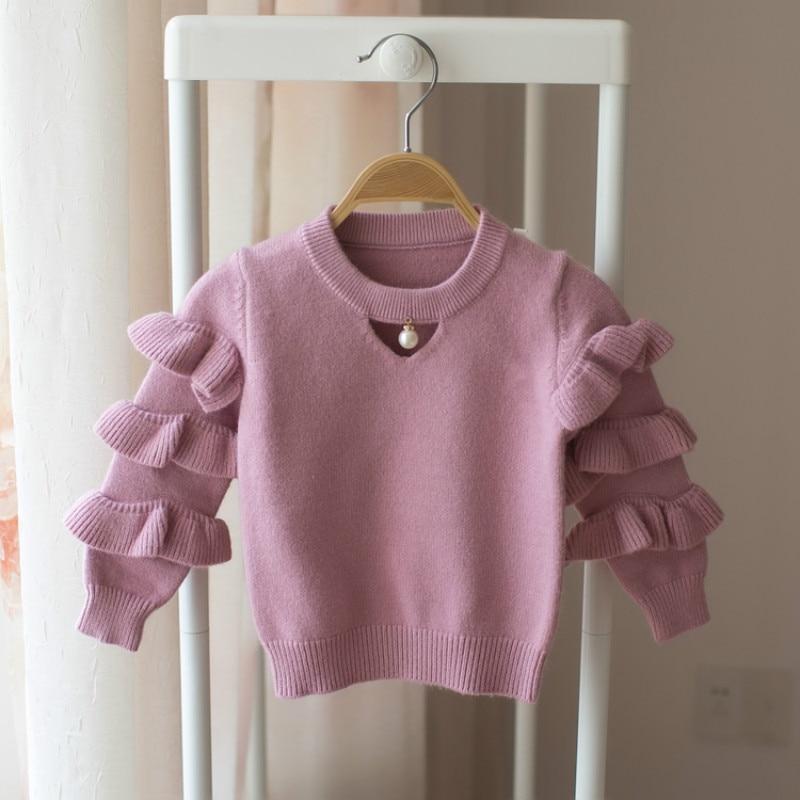 New 2018 Autumn Baby Sweaters Winter Kids Knit Infant Sweater Children Ruffles Sleeve Sweaters Girls Basic Sweaters,12M-5Y,#2376 недорого