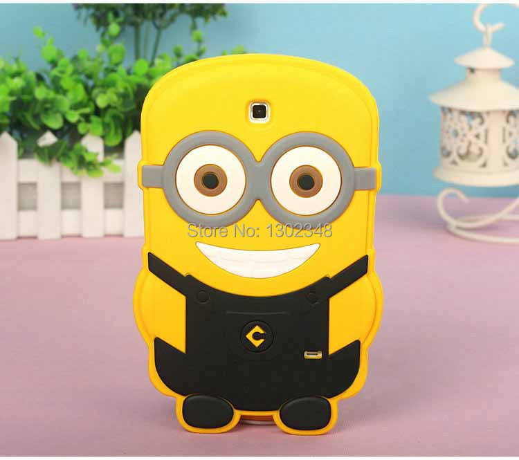 New 3D Cute Cartoon Despicable Me 2 Yellow Minion Soft Silicone Rubber Cover Case for Samsung Galaxy Tab 4 7.0 T230 T231 T235
