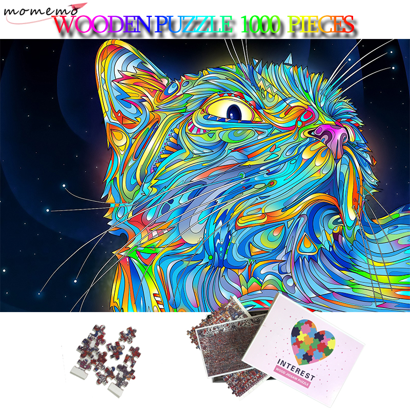 MOMEMO Coloured Cats Wooden 1000 Pieces Jigsaw Puzzle Adults Toys 5075cm Giant Puzzle 1000 Piece Puzzles For Adult Teens Gifts
