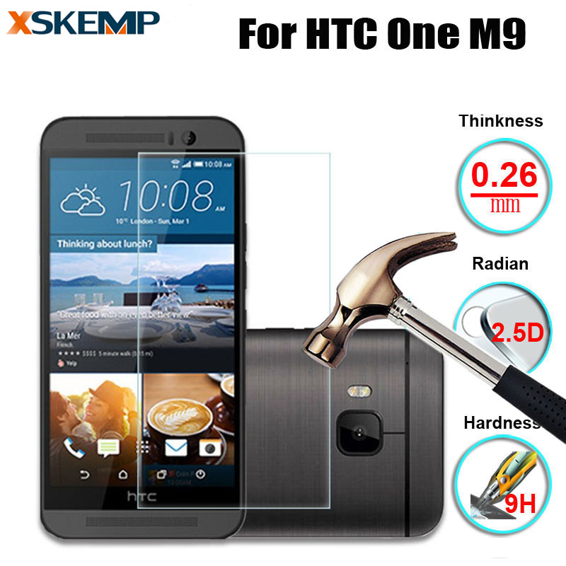 XSKEMP For HTC One M9 No Fingerprint Premium 0 26mm 2 5D Tempered Glass Protective Guard