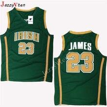 8185b2884c4 JazzyVten 2019 new arrived Men's Lebron James High School Basketball Jersey  Irish 23 Stitch All Sizes